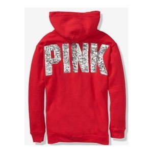 NWOT PINK Red Sherpa Sequin Campus Hoodie Pullover